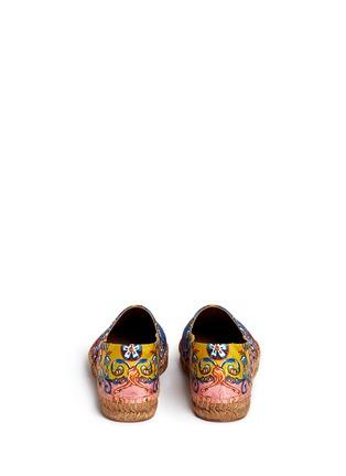 背面 - 点击放大 - DOLCE & GABBANA - 西西里印花锦缎平底麻编鞋