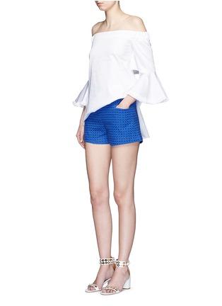 模特示范图 - 点击放大 - NICHOLAS - 镂空刺绣纯棉短裤