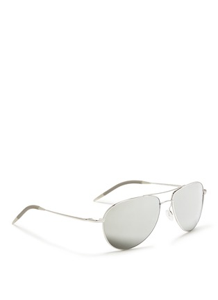 模特示范图 - 点击放大 - OLIVER PEOPLES ACCESSORIES - 'Benedict' double bridge aviator sunglasses