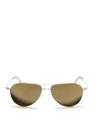 首图 - 点击放大 - Oliver Peoples Accessories - 'Benedict' double bridge aviator sunglasses