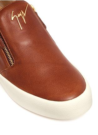 细节 - 点击放大 - GIUSEPPE ZANOTTI DESIGN - MAY LONDON金属拉链牛皮厚底便鞋