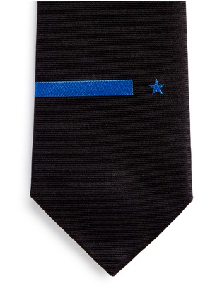 细节 - 点击放大 - Givenchy Beauty - 条纹及五角星刺绣真丝领带