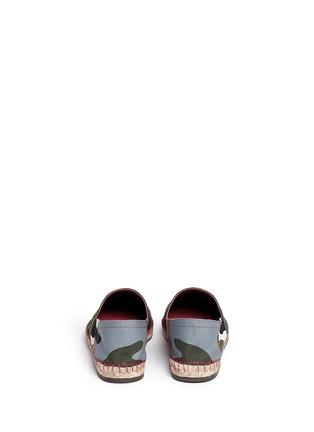 背面 - 点击放大 - Valentino - 迷彩拼贴麻编平底鞋