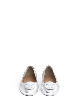 正面 - 点击放大 - TORY BURCH - Minnie品牌标志缀饰真皮芭蕾平底鞋