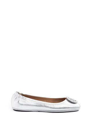 首图 - 点击放大 - TORY BURCH - Minnie品牌标志缀饰真皮芭蕾平底鞋
