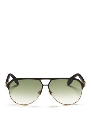 首图 - 点击放大 - Alexander McQueen - Flat brow bar wire aviator sunglasses