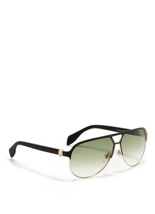 模特示范图 - 点击放大 - Alexander McQueen - Flat brow bar wire aviator sunglasses