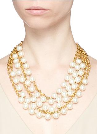 模特示范图 - 点击放大 - KENNETH JAY LANE - 人造珍珠坠饰五层项链