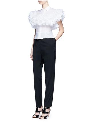 模特儿示范图 - 点击放大 - ALAÏA - 荷叶边拼贴纯棉衬衫