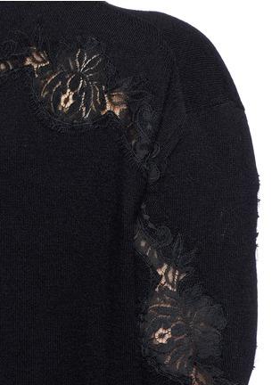 细节 - 点击放大 - DOLCE & GABBANA - 长款蕾丝拼贴羊绒针织衫