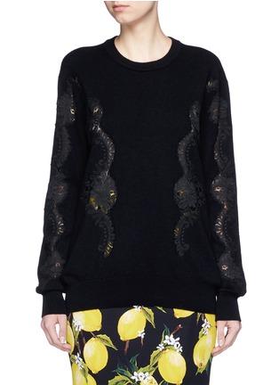 首图 - 点击放大 - DOLCE & GABBANA - 长款蕾丝拼贴羊绒针织衫