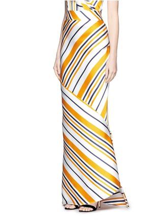正面 - 点击放大 - Maticevski - BRILLIANCE条纹拼接缎面半身裙