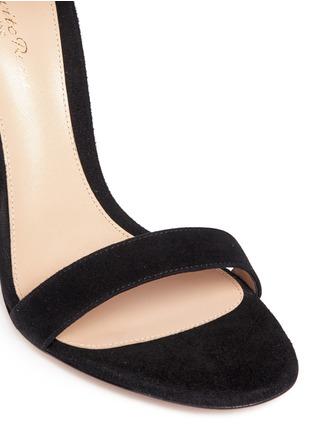 细节 - 点击放大 - GIANVITO ROSSI - 蕾丝踝带麂皮高跟凉鞋