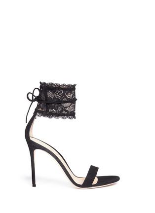 首图 - 点击放大 - GIANVITO ROSSI - 蕾丝踝带麂皮高跟凉鞋