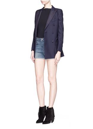 模特儿示范图 - 点击放大 - J BRAND - GRACIE水洗高腰牛仔短裤