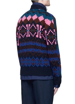 背面 - 点击放大 - SACAI - 像素提花羊毛双层外套