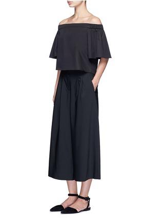模特示范图 - 点击放大 - TIBI - EDIE混羊毛褶裥阔腿八分裤