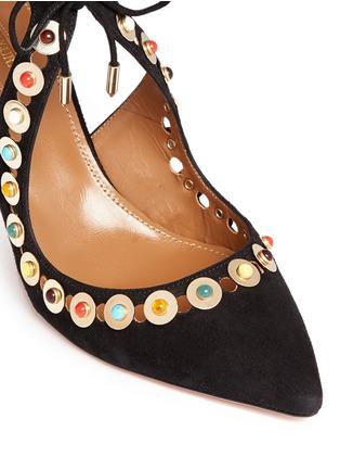 细节 - 点击放大 - AQUAZZURA - BYZANTINE弧线镂空麂皮高跟鞋