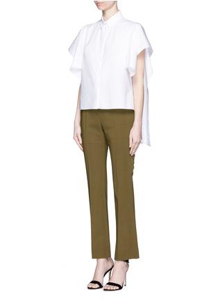 模特示范图 - 点击放大 - Givenchy Beauty - 荷叶边装饰直脚长裤