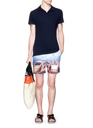 模特儿示范图 - 点击放大 - ORLEBAR BROWN - 'Felix' mélange cotton piqué polo shirt