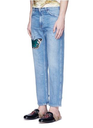正面 -点击放大 - GUCCI - 蝴蝶徽章磨破水洗牛仔裤