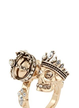 细节 - 点击放大 - ALEXANDER MCQUEEN - 皇冠骷髅头开口戒指
