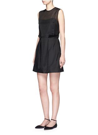 模特示范图 - 点击放大 - VICTORIA, VICTORIA BECKHAM - 波浪条纹刺绣薄纱连衣裙