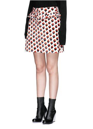 正面 - 点击放大 - VICTORIA, VICTORIA BECKHAM - 草莓图案褶饰半身裙