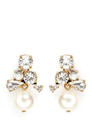 首图 - 点击放大 - J.CREW - 仿水晶人造珍珠垂坠耳环