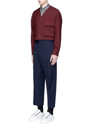 模特儿示范图 - 点击放大 - Marni - 弧形条纹纯棉衬衫
