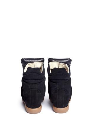 背面 - 点击放大 - ISABEL MARANT ÉTOILE - 绒面小牛皮拼接内置坡跟运动鞋