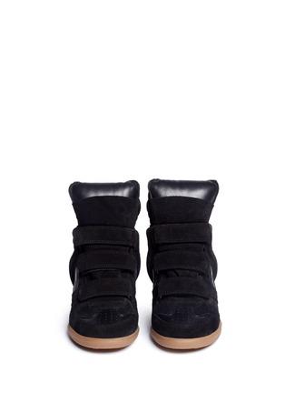 正面 -点击放大 - ISABEL MARANT ÉTOILE - 绒面小牛皮拼接内置坡跟运动鞋