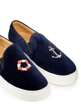 细节 - 点击放大 - BING XU - 海洋风图标刺绣绒面便鞋