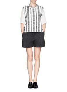 3.1 PHILLIP LIM Silk chiffon sleeve sketch stripe top