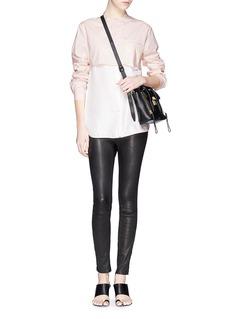 3.1 PHILLIP LIM Collarless layer silk-cotton combo shirt