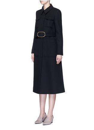 模特示范图 - 点击放大 - STELLA MCCARTNEY - 金属扣束腰混羊毛大衣