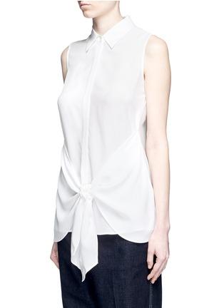 正面 -点击放大 - THEORY - 扭结装饰无袖真丝衬衫