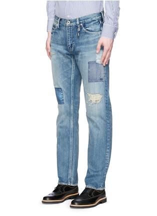 正面 -点击放大 - FDMTL - TRACE磨破拼贴水洗修身牛仔裤