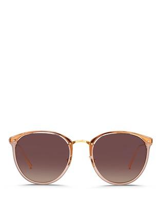 首图 - 点击放大 - LINDA FARROW - 金属拼接圆框太阳眼镜