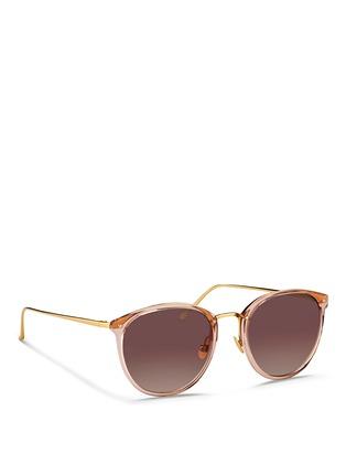 模特儿示范图 - 点击放大 - LINDA FARROW - 金属拼接圆框太阳眼镜