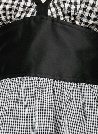 细节 - 点击放大 - ISA ARFEN - 格纹荷叶边露肩上衣
