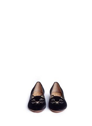 模特儿示范图 - 点击放大 - 201890246 - INCY KITTY儿童款猫咪刺绣天鹅绒平底鞋