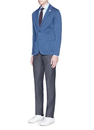 模特儿示范图 - 点击放大 - LARDINI - 混色羊毛针织西服外套