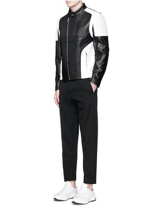 模特儿示范图 - 点击放大 - NEIL BARRETT - 拼色镂空真皮机车夹克