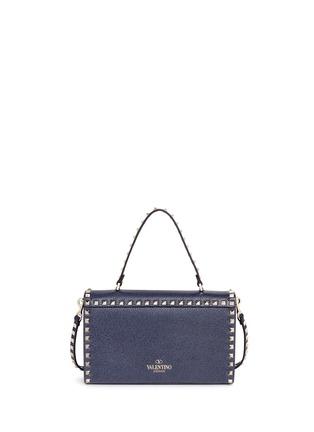 背面 - 点击放大 - VALENTINO - 'Rockstud' small denim effect leather satchel