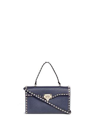 首图 - 点击放大 - VALENTINO - 'Rockstud' small denim effect leather satchel