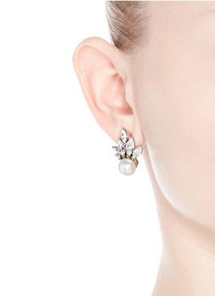 模特示范图 - 点击放大 - KENNETH JAY LANE - 扇形仿水晶人造珍珠耳环