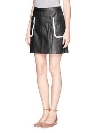 正面 -点击放大 - THEORY - 'Strailia' contrast binding leather skirt