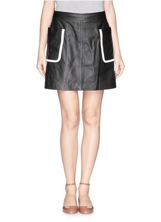 首图 - 点击放大 - THEORY - 'Strailia' contrast binding leather skirt
