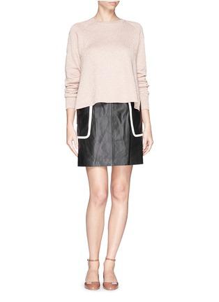 模特儿示范图 - 点击放大 - THEORY - 'Strailia' contrast binding leather skirt
